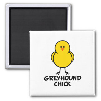 Greyhound Chick 2 Inch Square Magnet
