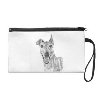 Greyhound Closeup Drawing Wristlet Purse