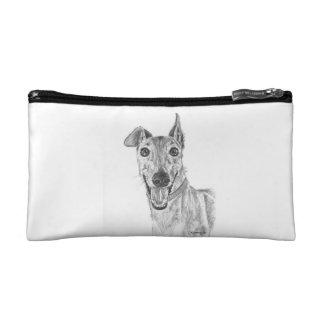 Greyhound Closeup Drawing Makeup Bags