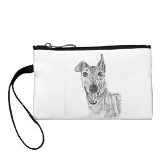 Greyhound Closeup Drawing Coin Wallet