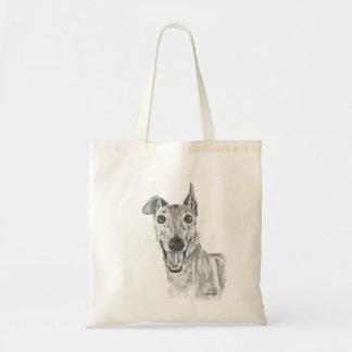 Greyhound Closeup Drawing Tote Bags