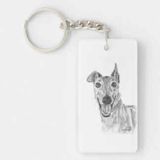 Greyhound Closeup Drawing Keychain