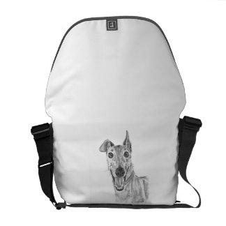 Greyhound Closeup Drawing Courier Bags