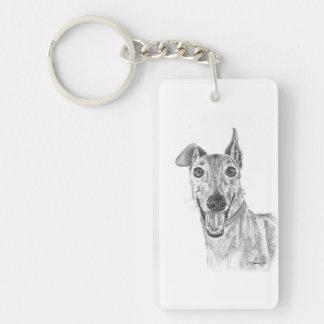 Greyhound Closeup Drawing Single-Sided Rectangular Acrylic Keychain