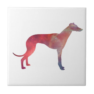 Greyhound cosmos silhouette ceramic tile