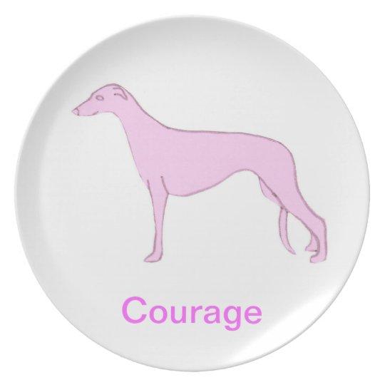 Greyhound Courage Cancer Awareness Plate
