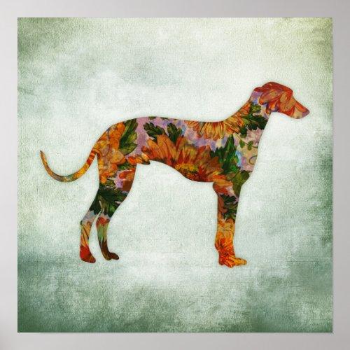 Greyhound Dog Art Print Floral Poster