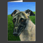 Greyhound Dog Art - Teddy Card