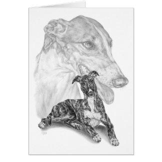 Greyhound Dog Drawing by Kelli Swan Greeting Cards