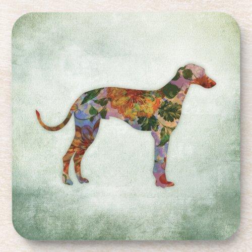 Greyhound Dog Floral On Green Beverage Coaster