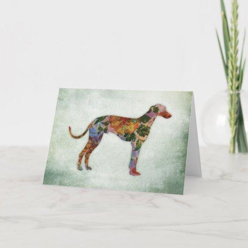 Greyhound Dog Floral On Green Card