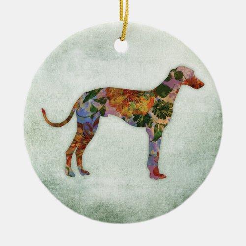 Greyhound Dog Floral On Green Ceramic Ornament
