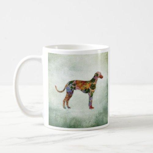 Greyhound Dog Floral On Green Coffee Mug