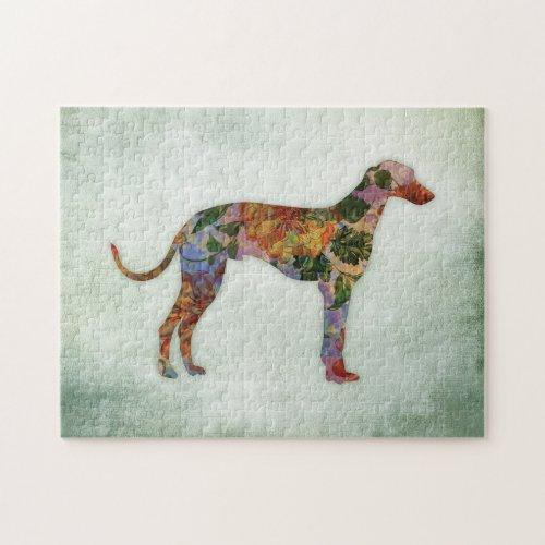 Greyhound Dog Floral On Green Jigsaw Puzzle