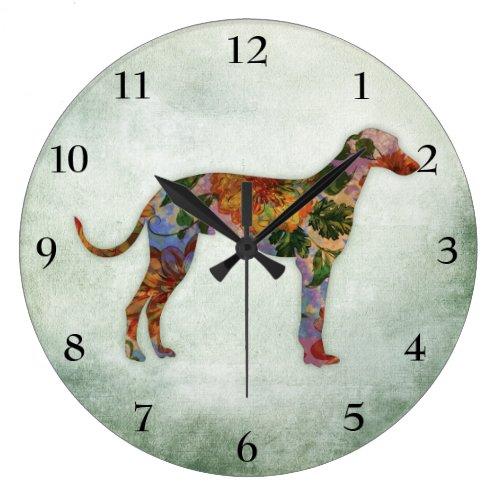 Greyhound Dog Floral On Green Large Clock