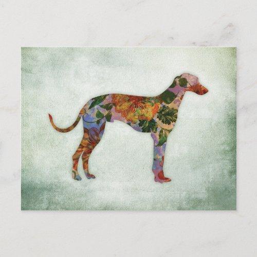 Greyhound Dog Floral On Green Postcard