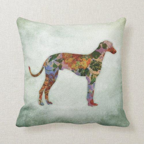 Greyhound Dog Floral On Green Throw Pillow