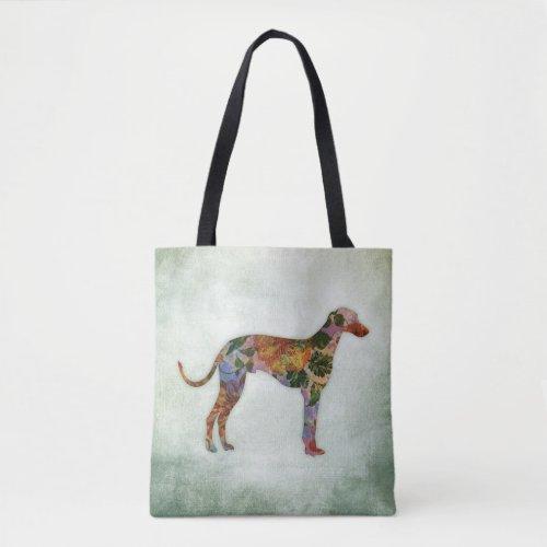 Greyhound Dog Floral On Green Tote Bag