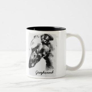 Greyhound Dog In Profile Two-Tone Coffee Mug