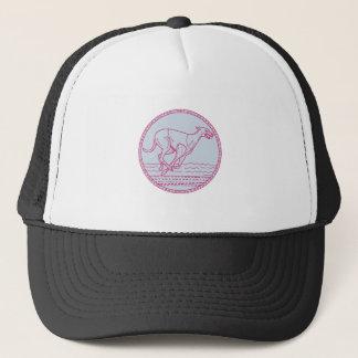 Greyhound Dog Racing Circle Mono Line Trucker Hat