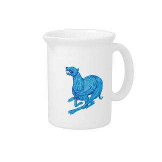 Greyhound Dog Racing Drawing Drink Pitcher