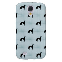 Greyhound Dog Silhouette Blue Tile Pet Pattern Samsung S4 Case