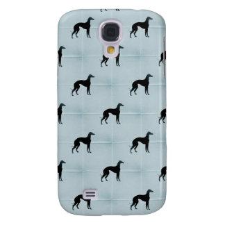 Greyhound Dog Silhouette Blue Tile Pet Pattern Samsung S4 Case