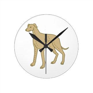 Greyhound Dog Standing Mono Line Round Clock
