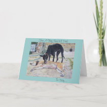 greyhound dogs scenic landscape art fathers day card