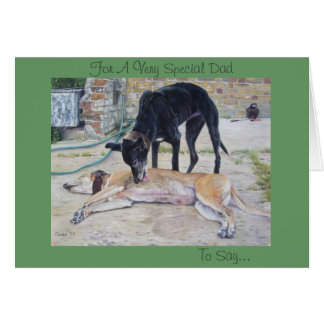 greyhound dogs scenic landscape realist art greeting card
