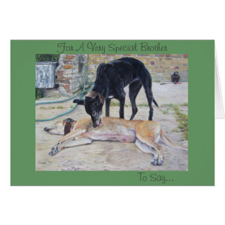 greyhound dogs scenic landscape realist art cards