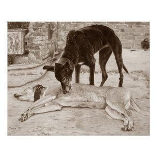 greyhound dogs scenic landscape realist art perfect poster