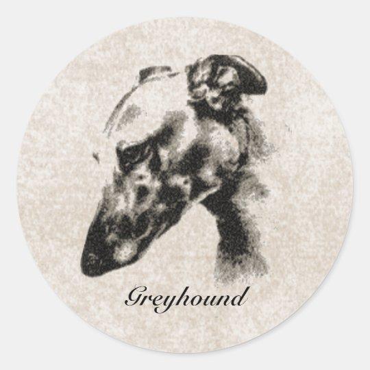 Greyhound Elegance Customizable Classic Round Sticker