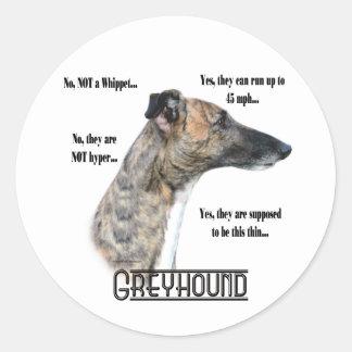 Greyhound FAQ Sicker Round Sticker