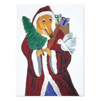 Greyhound Father Christmas Card