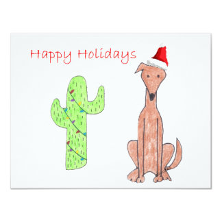 Greyhound Fawn Cactus Christmas 4.25x5.5 Paper Invitation Card