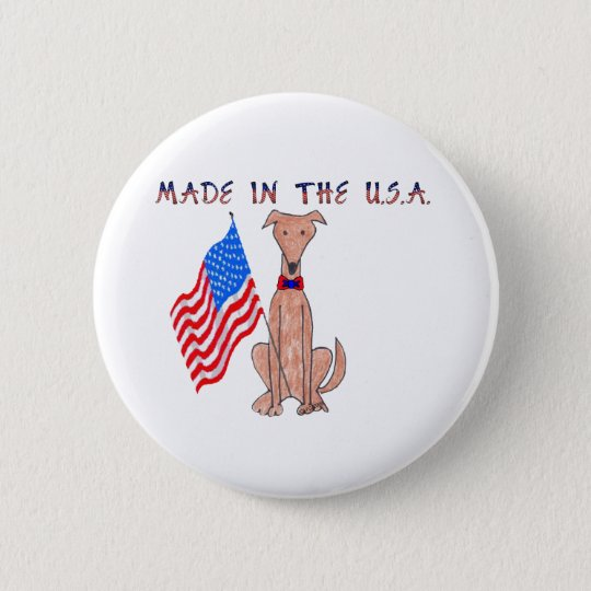 Greyhound Fawn Made In The USA Button