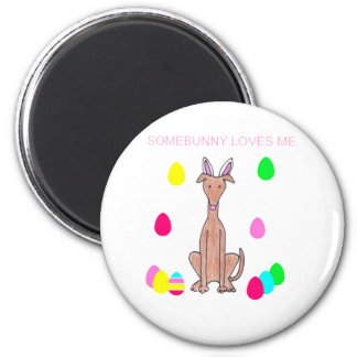Greyhound Fawn Somebunny Loves Me 2 Inch Round Magnet