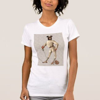Greyhound Fencer in Cream Full 2 T-Shirt