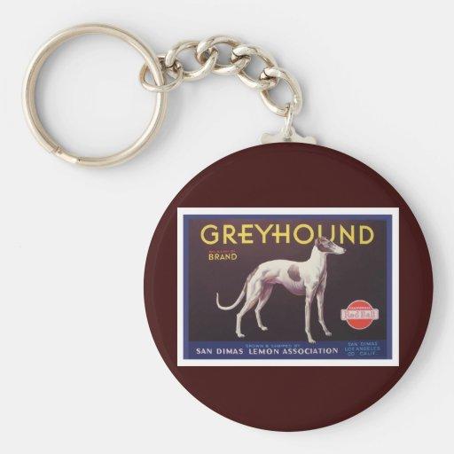 Greyhound Fruit Crate Label Keychain
