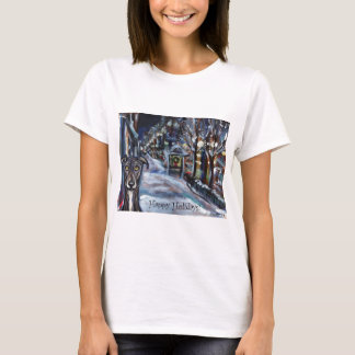 greyhound holiday card wintry scene T-Shirt