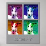 Greyhound Homage to Warhol Poster