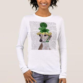 Greyhound in Green Knitted Hat 2 Long Sleeve T-Shirt