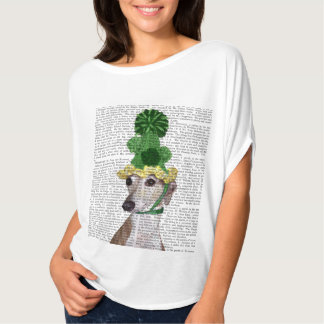 Greyhound in Green Knitted Hat 2 T-Shirt