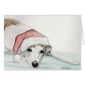 """Greyhound in Santa Hat"" Dog Art Christmas Card"