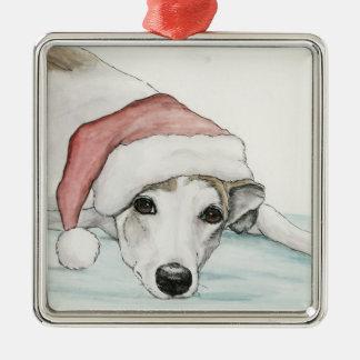 Greyhound in Santa Hat Dog Art Ornament