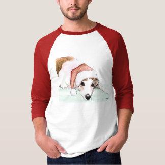 """Greyhound in Santa Hat"" Dog Art Shirt"