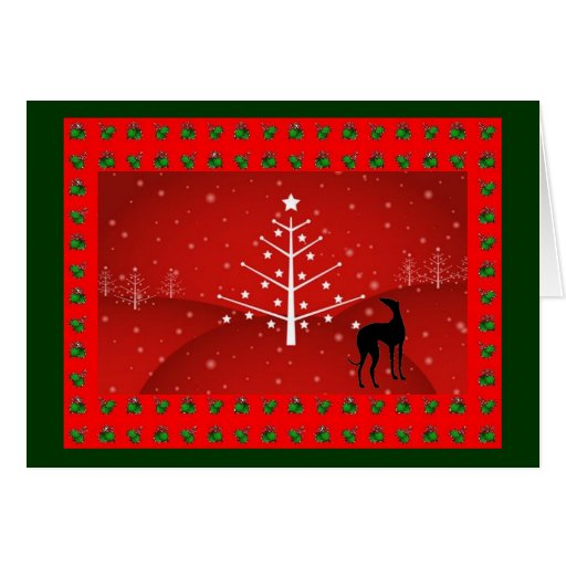 Greyhound in the Christmas Glow Greeting Card
