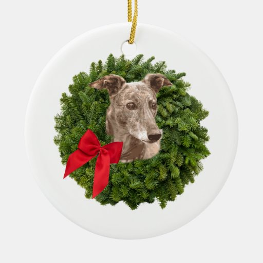 Greyhound in Xmas Wreath Christmas Tree Ornament | Zazzle