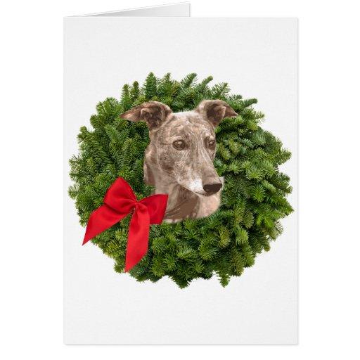 Greyhound in Xmas Wreath Greeting Card